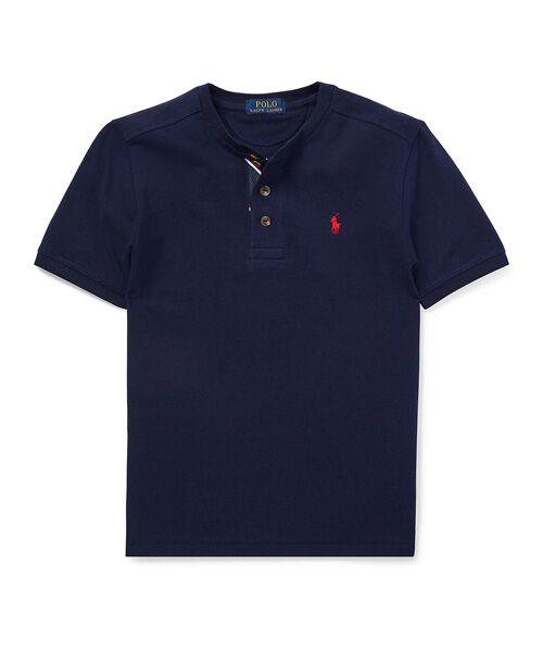 POLO RALPH LAUREN / ポロ ラルフ ローレン Tシャツ | (ボーイズ 8才~20才)コットン メッシュ ヘンリーネック シャツ(B82ネイビー)