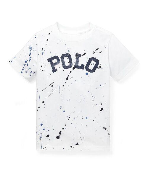 POLO RALPH LAUREN / ポロ ラルフ ローレン Tシャツ | (ボーイズ 2才~4才)ペイントスプラッター コットン Tシャツ(E86ホワイト)