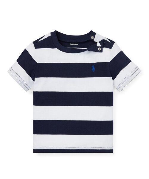 6f1aec09818f4 ベビー)ストライプド コットン ジャージー Tシャツ (Tシャツ)|POLO ...