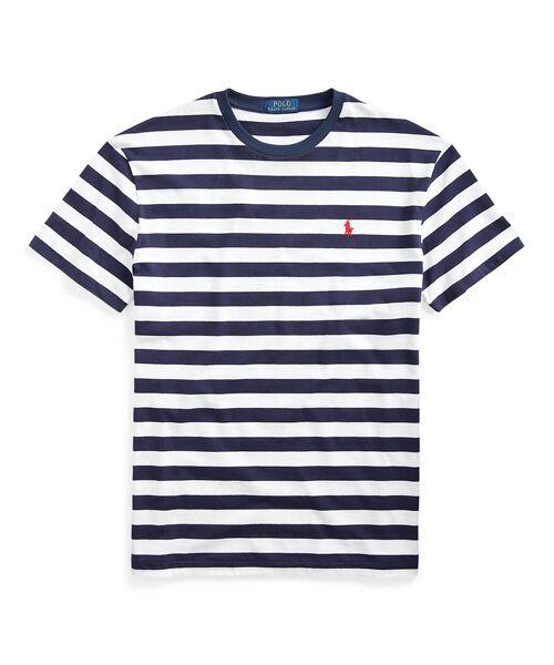 POLO RALPH LAUREN / ポロ ラルフ ローレン Tシャツ   カスタム スリム ストライプド Tシャツ(400ブルー)