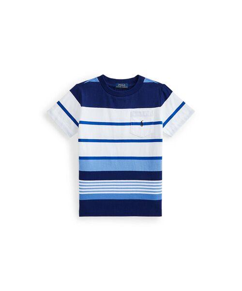 POLO RALPH LAUREN / ポロ ラルフ ローレン Tシャツ | (ボーイズ 5才~7才)ストライプド コットン ジャージー ポケット Tシャツ(100ホワイト)
