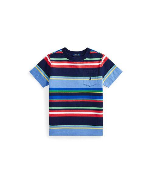 POLO RALPH LAUREN / ポロ ラルフ ローレン Tシャツ | (ボーイズ 2才~4才)ストライプド コットン ジャージー ポケット Tシャツ(410ネイビー)