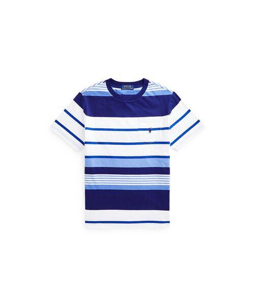 POLO RALPH LAUREN / ポロ ラルフ ローレン Tシャツ | (ボーイズ 8才~20才)ストライプド コットン ジャージー ポケット Tシャツ(100ホワイト)