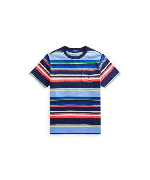 POLO RALPH LAUREN / ポロ ラルフ ローレン Tシャツ | (ボーイズ 8才~20才)ストライプド コットン ジャージー ポケット Tシャツ(410ネイビー)
