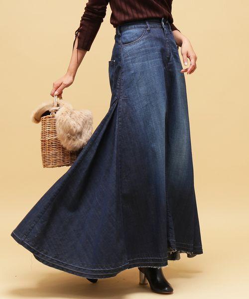 ROPE' / ロペ デニムスカート | 【woad blue別注】デニムマキシスカート(ネイビー)