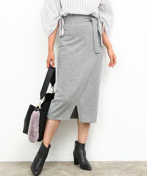 【InRed 11月号掲載】【Oggi11月号掲載】【セットアップ対応】フロントスリットカシミヤタッチスカート