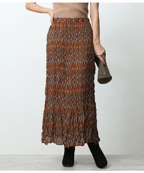 ROPE' / ロペ スカート | オリエンタルクリンクルスカート(オレンジ(70))