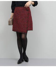 【セットアップ対応】ツイードラップ風スカート