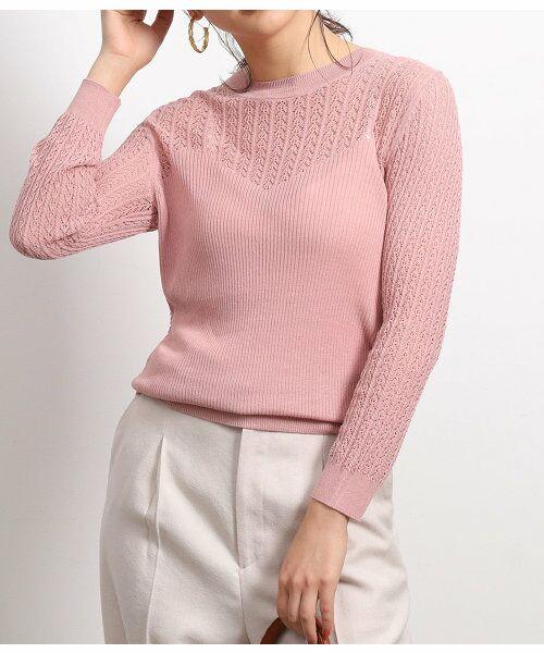 ROPE' / ロペ ニット・セーター | 透かし編みリブニット(ピンク(63))