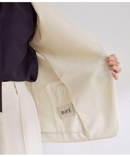 ROPE' / ロペ ノーカラージャケット | 【洗える】【オフィス/お仕事】【セットアップ対応】ノーカラーVネックジャケット | 詳細10