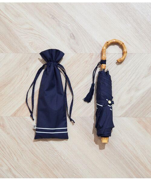 ROPE' / ロペ 傘 | 【21SS新色】【晴雨兼用】バンブーハンドルコンパクトアンブレラ(ネイビー系(41))