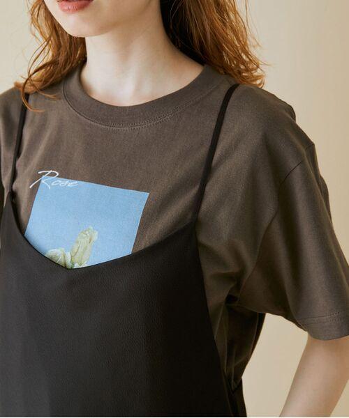 ROPE' / ロペ カットソー   【VTA for MADEMOISELLE】フラワーフォトショートスリーブ Tシャツ(グレー系(09))