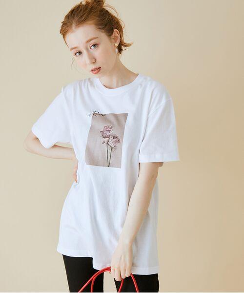 ROPE' / ロペ カットソー   【VTA for MADEMOISELLE】フラワーフォトショートスリーブ Tシャツ(ホワイト(10))