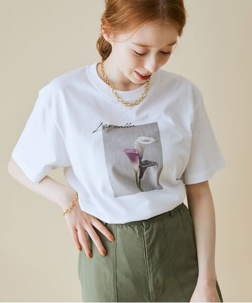 ROPE' / ロペ カットソー   【VTA for MADEMOISELLE】フラワーフォトショートスリーブ Tシャツ(ホワイト系(11))
