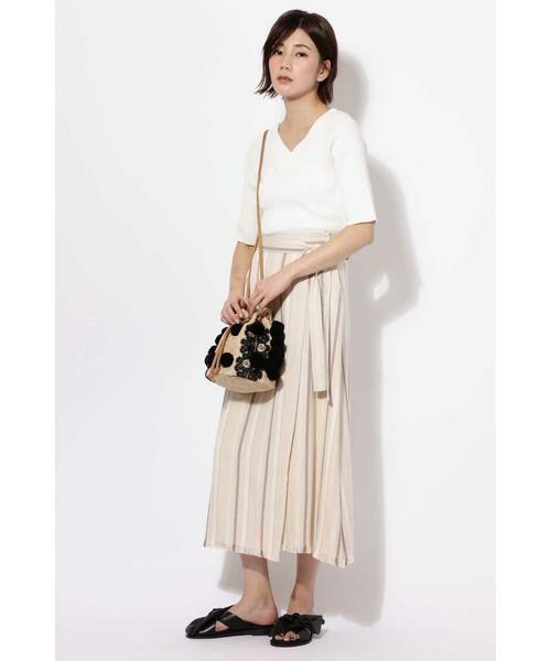 ROSE BUD / ローズ バッド スカート | ウエストリボンストライプマキシスカート | 詳細1