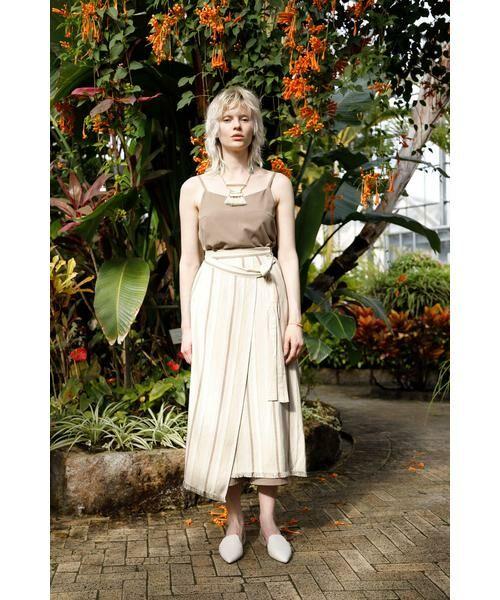 ROSE BUD / ローズ バッド スカート | ウエストリボンストライプマキシスカート | 詳細4