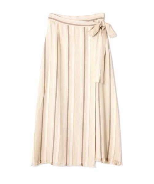 ROSE BUD / ローズ バッド スカート | ウエストリボンストライプマキシスカート(ベージュ1)