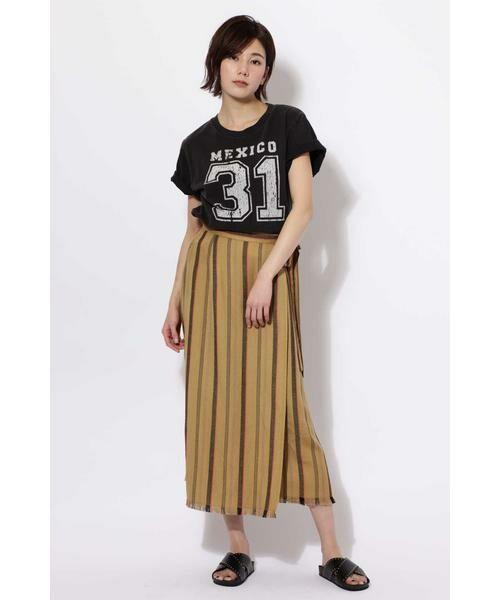 ROSE BUD / ローズ バッド スカート | ウエストリボンストライプマキシスカート | 詳細5