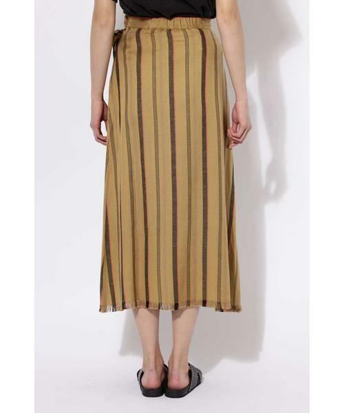 ROSE BUD / ローズ バッド スカート | ウエストリボンストライプマキシスカート | 詳細7