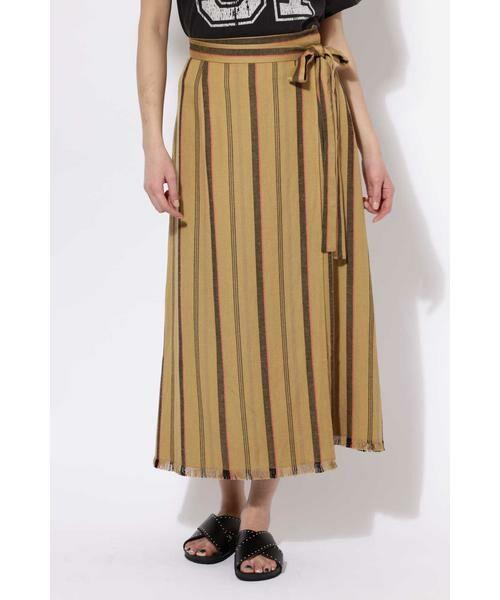 ROSE BUD / ローズ バッド スカート | ウエストリボンストライプマキシスカート(ブラウン1)