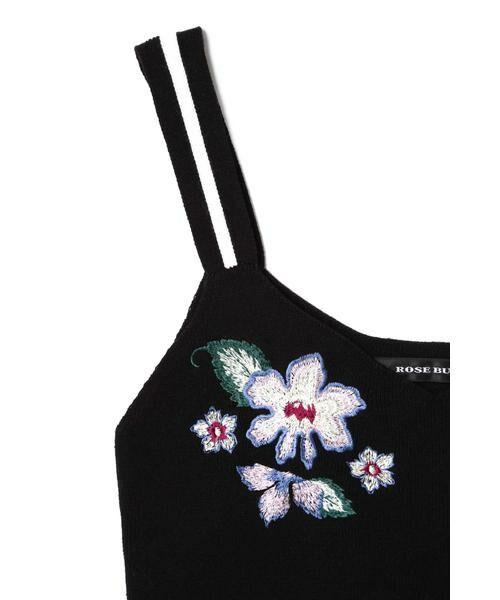 ROSE BUD / ローズ バッド ニット・セーター | フラワー刺繍ニットキャミソール | 詳細8