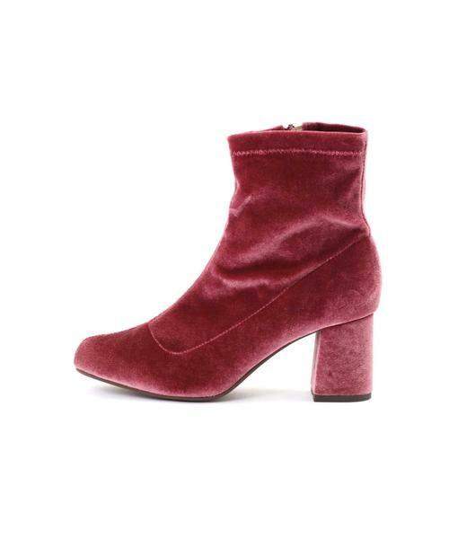 ROSE BUD / ローズ バッド ブーツ(ショート丈) | [GINZA1月号掲載]ミドル丈ベロアブーツ(ピンク2)