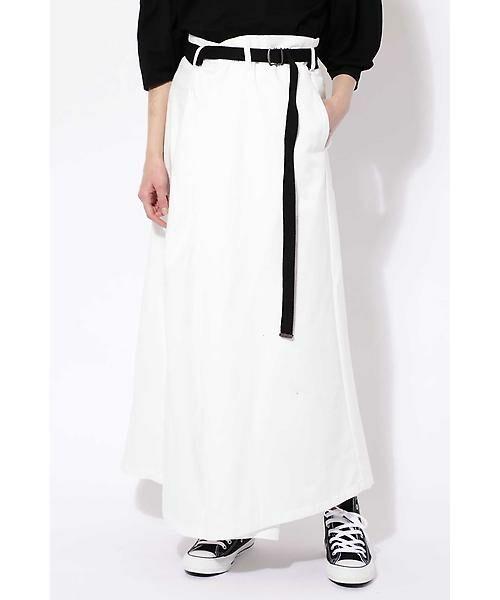 ROSE BUD / ローズ バッド スカート | ベルト付ワイドラップスカート(ホワイト1)