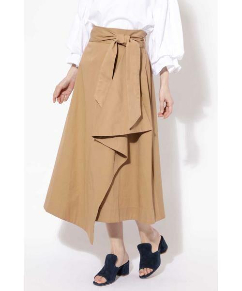 ROSE BUD / ローズ バッド スカート   ハイウエストフリルラップスカート(ベージュ1)
