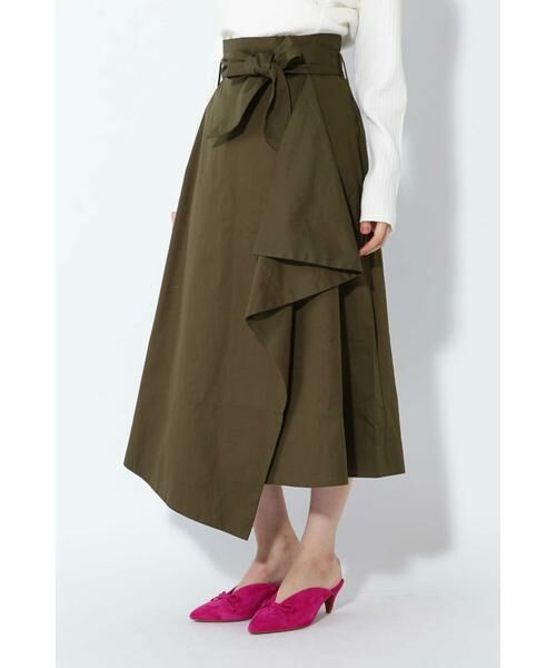 ROSE BUD / ローズ バッド スカート   ハイウエストフリルラップスカート(カーキ1)