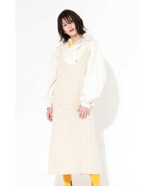 ROSE BUD / ローズ バッド ワンピース | ケーブルニットドレス(ホワイト1)