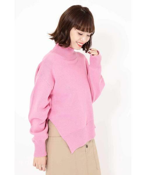 ROSE BUD / ローズ バッド ニット・セーター | アシメトリーヘムタートルニット(ピンク)