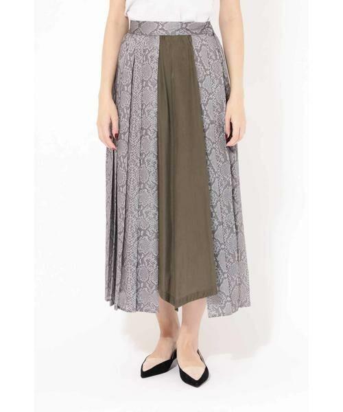 ROSE BUD / ローズ バッド スカート | プリントプリーツスカート(グレー)
