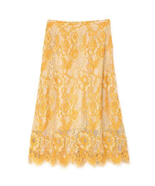 ROSE BUD / ローズ バッド スカート | 配色カラーレーススカート(イエロー)
