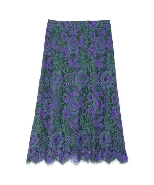 ROSE BUD / ローズ バッド スカート | 配色カラーレーススカート(パープル)