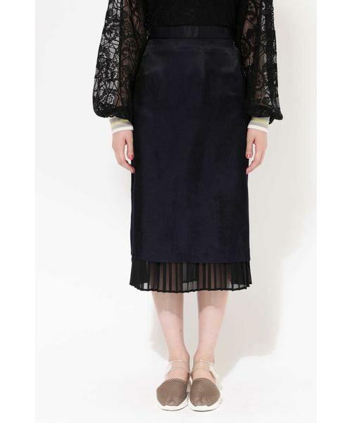 ROSE BUD / ローズ バッド スカート | 裾プリーツスカート(ネイビー)