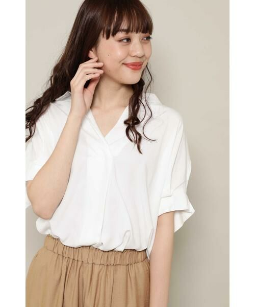 ROSE BUD / ローズ バッド シャツ・ブラウス   スキッパーシャツ(ホワイト)