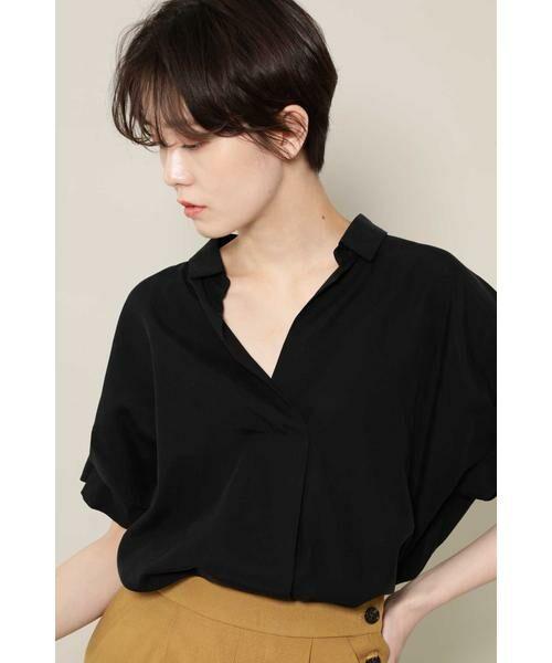 ROSE BUD / ローズ バッド シャツ・ブラウス   スキッパーシャツ(ブラック)