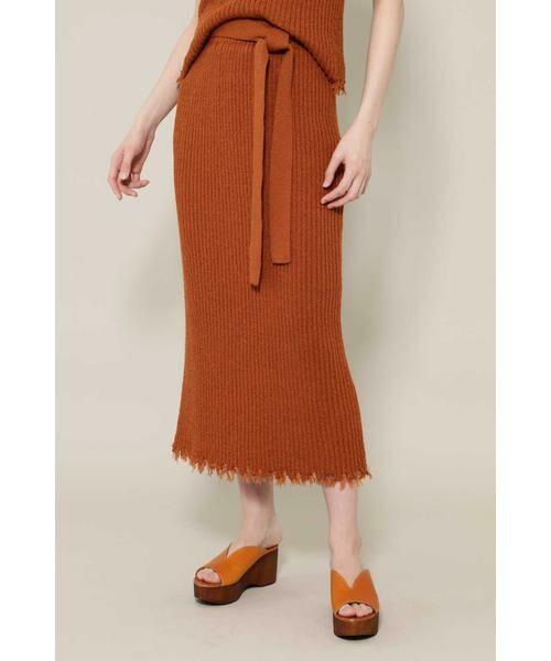 ROSE BUD / ローズ バッド スカート | リブニットスカート(ブラウン)