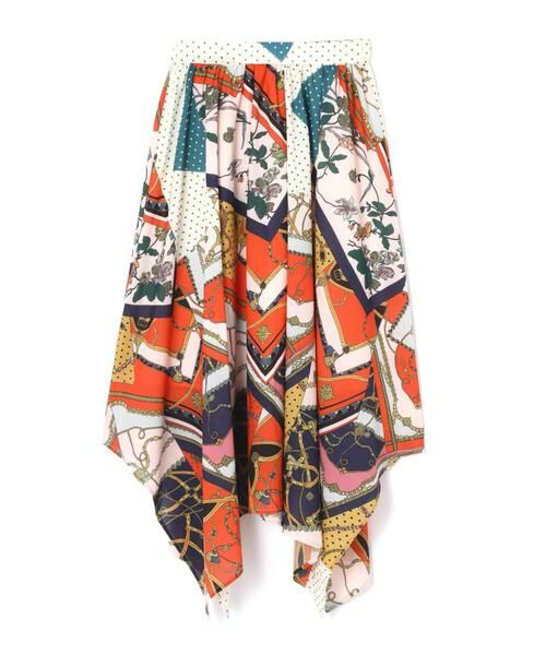 ROSE BUD / ローズ バッド スカート | スカーフプリントスカート(オレンジ)