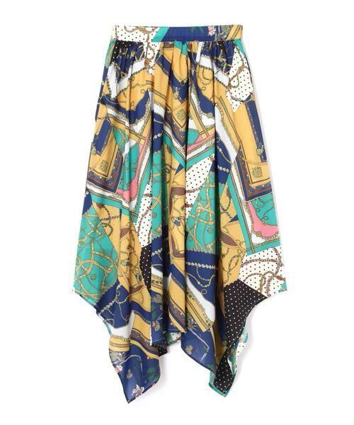 ROSE BUD / ローズ バッド スカート | スカーフプリントスカート(グリーン)