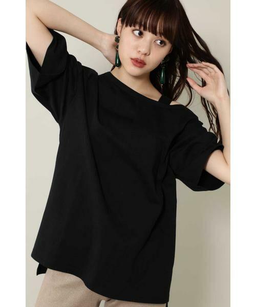 ROSE BUD / ローズ バッド カットソー | ワンショルダービッグTシャツ(ブラック)
