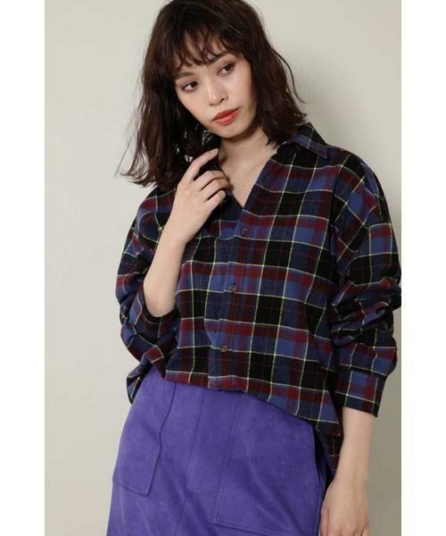 ROSE BUD / ローズ バッド シャツ・ブラウス | バックボタンビッグシャツ(ブルー)