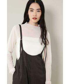 絶妙なシア感が特徴のインナーロングスリーブTシャツ<br/>・透け感のある軽い着心地<br/>・上品な装いになるハイネックデザイン<br/>・レイヤードに最適なアイテム<br/><br/><br/>【スタッフレビュー】<br/>透け感のあるデザインがコーディネートにモードな雰囲気をプラスしてくれるインナーTシャツ。上品な露出を楽しめるアイテムは、レイヤードアイテムとして活躍してくれます。シャツやワンピースにはもちろん、スウェットからニットまで、様々なアイテムと組み合わせられるのでコーディネートの幅も広がります。ワードローブに1枚は置いておきたいアイテムです。<br/>