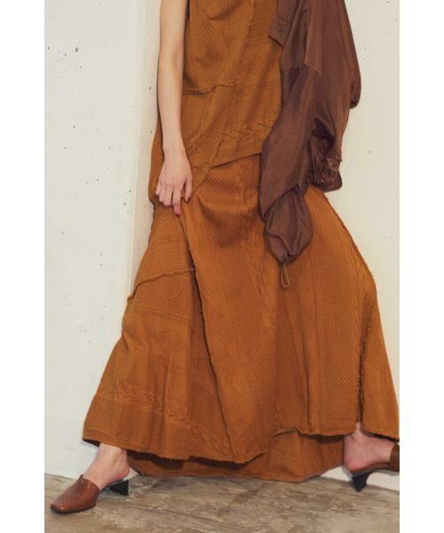 ROSE BUD / ローズ バッド スカート | ケーブルマキシスカート(ブラウン)
