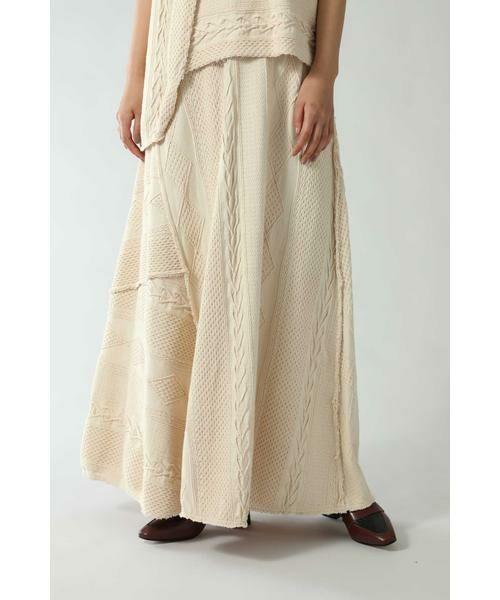ROSE BUD / ローズ バッド スカート | ケーブルマキシスカート(ベージュ)