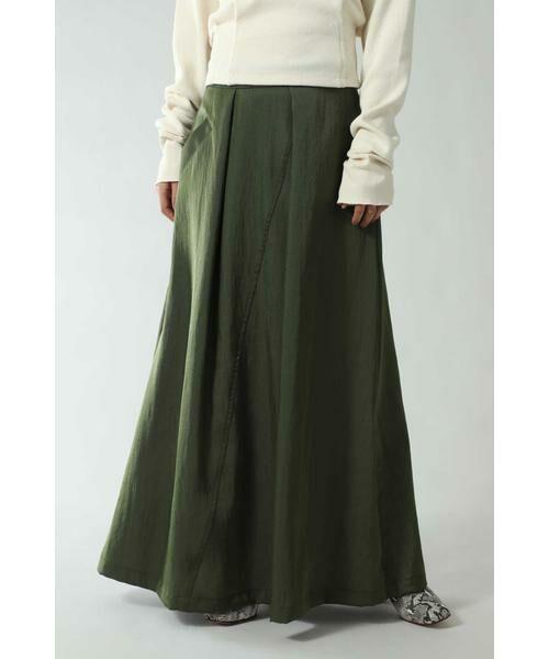 ROSE BUD / ローズ バッド スカート | フレアロングスカート(カーキ)