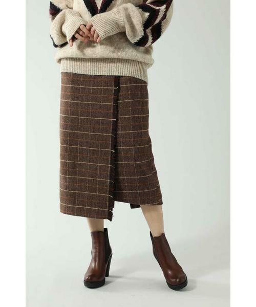 ROSE BUD / ローズ バッド スカート   チェックラインスカート(ブラウン)