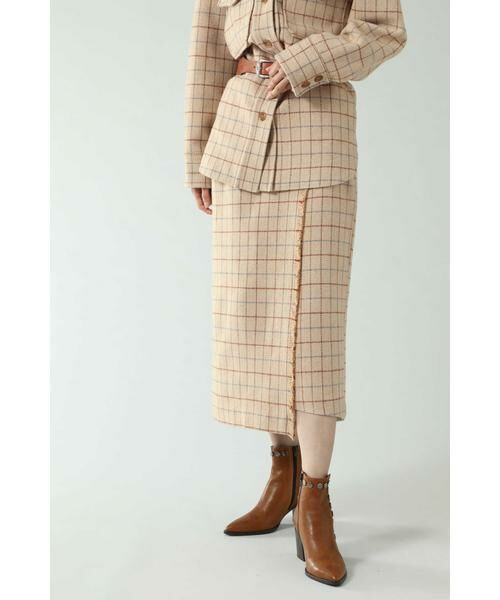 ROSE BUD / ローズ バッド スカート   チェックラインスカート(ベージュ)