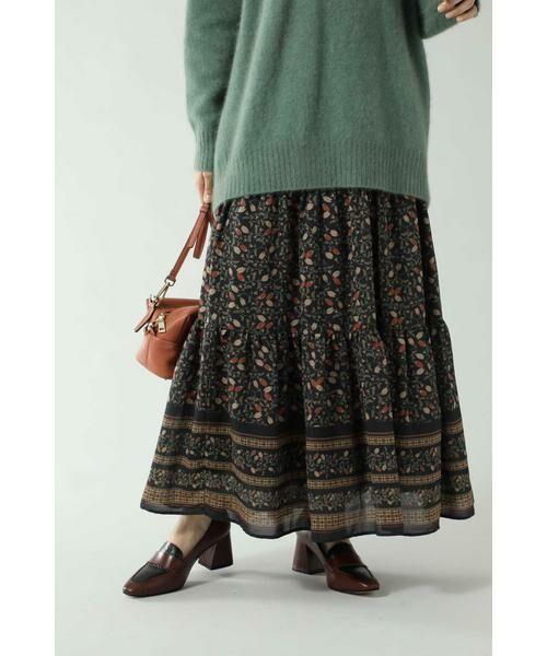 ROSE BUD / ローズ バッド スカート | フォークロア柄スカート(ブラック)
