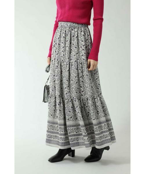 ROSE BUD / ローズ バッド スカート | フォークロア柄スカート(ベージュ)
